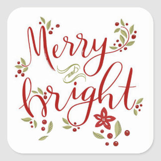 Merry and Bright Poinsettia Leaves & Berries Square Sticker