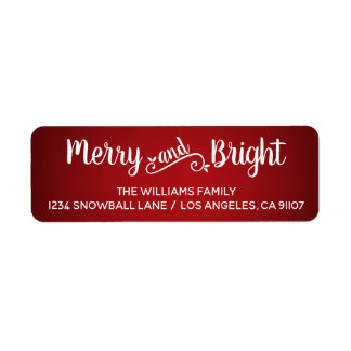Merry and Bright Red Return Address Labels