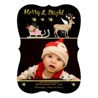 Merry and Bright Reindeer Sled Holiday Photo Card