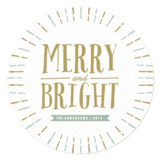 Merry and Bright Round Photo Card