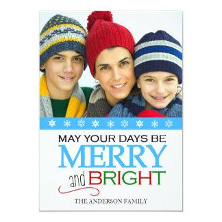 "Merry and Bright Snowflake 5x7 Photo Card - Aqua 5"" X 7"" Invitation Card"