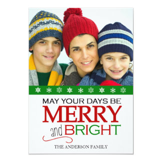 "Merry and Bright Snowflake 5x7 Photo Card (Green) 5"" X 7"" Invitation Card"