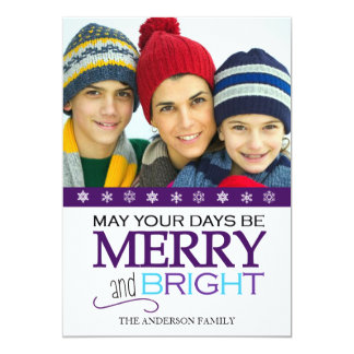 "Merry and Bright Snowflake 5x7 Photo Card (Purple) 5"" X 7"" Invitation Card"