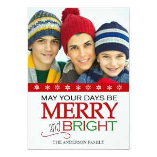 "Merry and Bright Snowflake 5x7 Photo Card (Red) 5"" X 7"" Invitation Card"