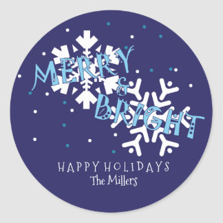 Merry and Bright, Snowflake Classic Round Sticker