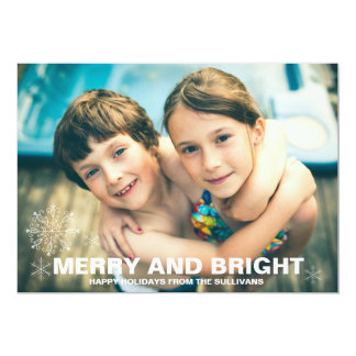 """Merry and Bright Snowflakes Christmas Photo Card 5"""" X 7"""" Invitation Card"""