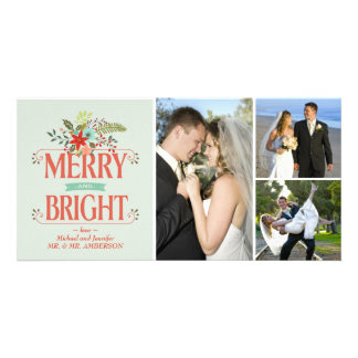 Merry and Bright Vintage Country Floral Collage Photo Cards