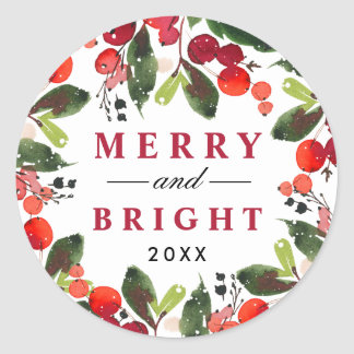 Merry and Bright   Watercolor Christmas Wreath Classic Round Sticker