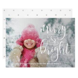 Merry And Bright White Overlay Holiday Photo Card