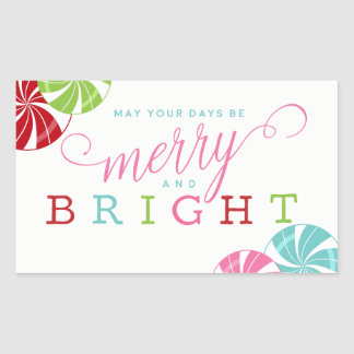 Merry and Bright with Colorful Candies Sticker
