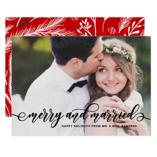Merry and Married Calligraphy Wedding Holiday Card