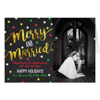Merry and Married Christmas Wedding Thank You Card