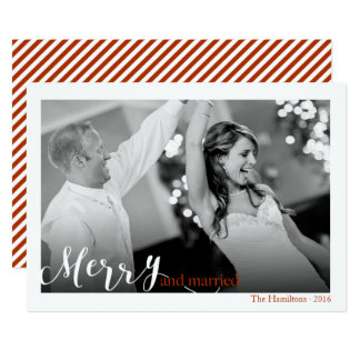 Merry and Married Couple's First Christmas Photo Card