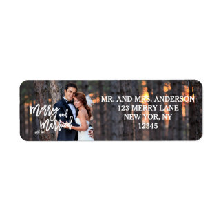 Merry and Married Hand Script   Holiday Photo Return Address Label