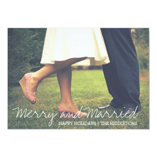 Merry And Married Script First Christmas Photo Card