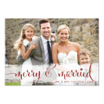 """Merry and Married   Snowflakes Holiday Photo Card 5"""" X 7"""" Invitation Card"""