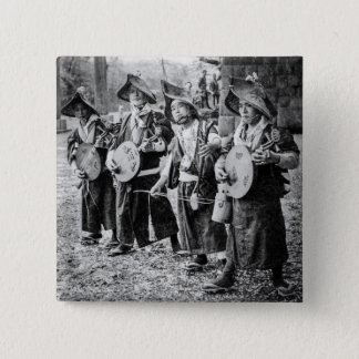 Merry Band of Musicians in Old Japan Vintage Music 2 Inch Square Button
