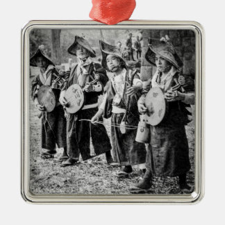Merry Band of Musicians in Old Japan Vintage Music Silver-Colored Square Ornament