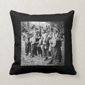 Merry Band of Musicians in Old Japan Vintage Music Throw Pillow