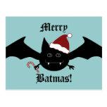 Merry Batmas silly gothic bat Postcards