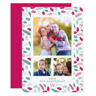 Merry Berry 3 Photo Christmas Holiday Flat Card