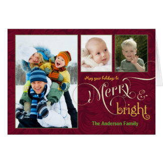 Merry & Bright 3-Photo Holiday Cards Cranberry Red
