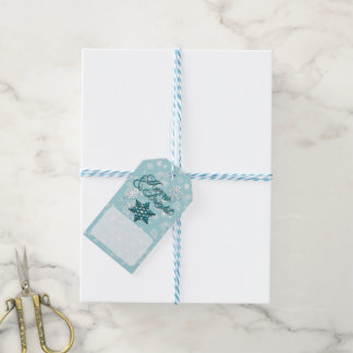 Merry & Bright • 6-Point Snowflake • Teal & White Pack Of Gift Tags