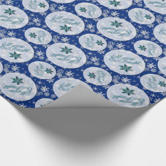 Merry & Bright • Blue • Snowflakes • Holidays Wrapping Paper