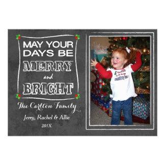 Merry Bright Chalkboard Christmas Photo Card