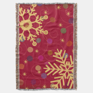 Merry & Bright Christmas Holiday Snowflake Bokeh Throw Blanket