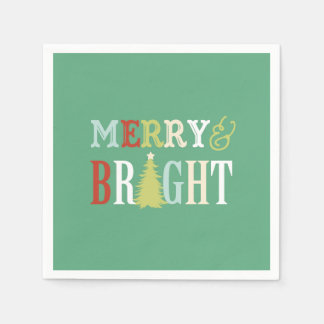 Merry & Bright Christmas Napkins Disposable Napkin