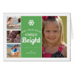 Merry Bright Christmas Photo Collage Holiday Green
