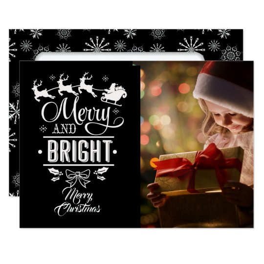Merry & Bright/Christmas Saying/2-Sided/Snowflakes Card