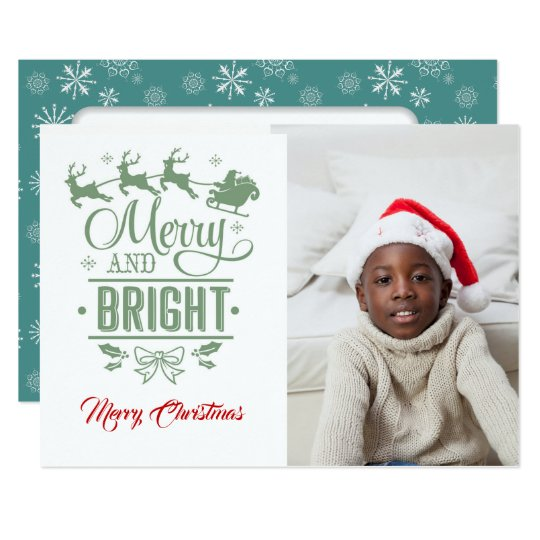Merry & Bright/Christmas Typography/2-Sided / Teal Card
