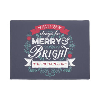 Merry & Bright Christmas Typography Custom Banner Doormat