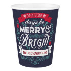 Merry & Bright Christmas Typography Custom Banner Paper Cup