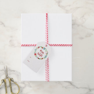Merry & Bright Christmas Wreath Gift Tags