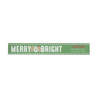Merry & Bright Christmas Xmas Gingerbread Cookies Wraparound Return Address Label