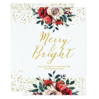 Merry & Bright christmas xmas holiday card holly
