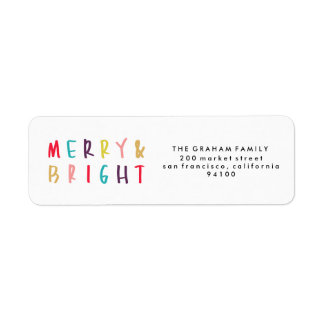 Merry & Bright Colorful Return Address Stamps