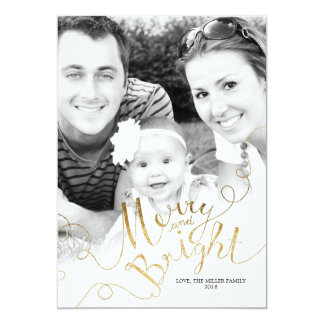 Merry Bright Faux Gold Glitter Custom Photo Xmas Card