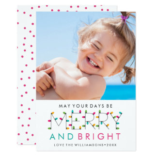 Merry & Bright Fun Modern Christmas Holiday Photo Card