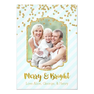 Merry & Bright Gold Sky Blue Stripes Photo Card