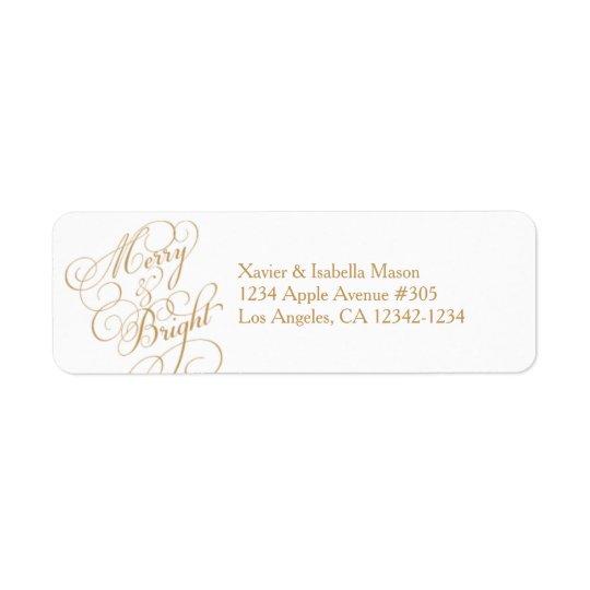Merry & Bright | Gold/White Return Address Label