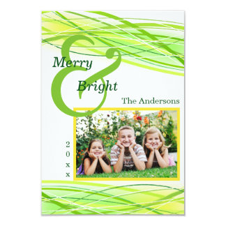 Merry & Bright Green Lines - 3x5 Christmas Card