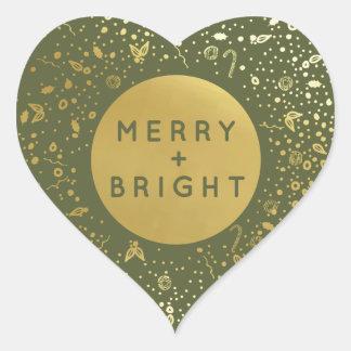 Merry + Bright Heart Sticker