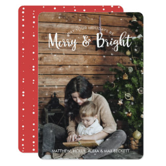 Merry & Bright Holiday Card with Snow