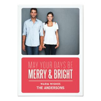 "MERRY & BRIGHT | HOLIDAY PHOTO CARD 5"" X 7"" INVITATION CARD"