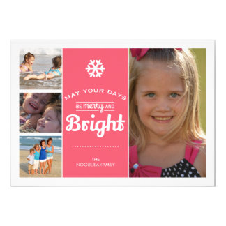 """Merry Bright Holiday Photo Christmas Collage Pink 5"""" X 7"""" Invitation Card"""