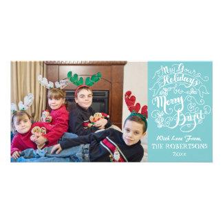 Merry Bright Holidays Aqua Modern Photo Christmas Customized Photo Card